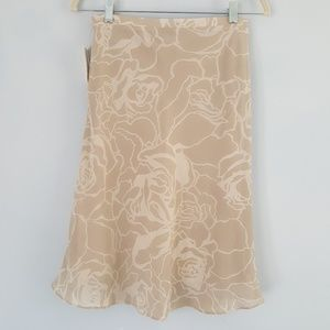 H&M A Line Skirt Floral Print 4 Beige